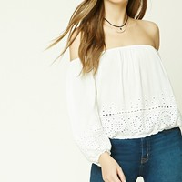 Laser-Cut Off-the-Shoulder Top