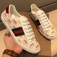 GUCCI  New Fashion Men More Letter Red And Green Stripe Single Shoes White