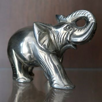 Pyrite Elephant 01 - Trunk Up Gold Animal (4 Inches)