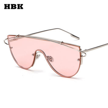 New fashion brand one piece lens sunglasses women metal vintage oversized tinted sunglasses mirror male female pink yellow Cool