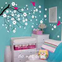 Baby nursery wall decals Cherry blossom tree decals kids flower floral nature white girl wall decor wall art- Cherry Blossom Tree
