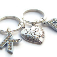 Mother Daughter Keyrings ~ Personalized Keychains, Mothers Day Gifts, Half Heart Keyrings, Initial Jewelry, Matching Mum Daughter Set