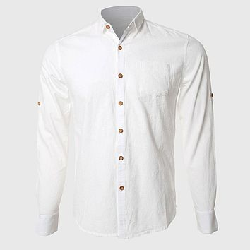 Men White Formal Shirts Casual Cotton Linen Long Sleeve Office Work Wear Turn Down Collar High Quality