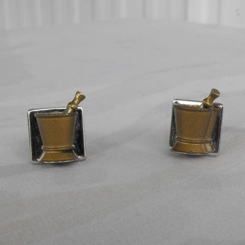 Apothecary Cuff Links Mortar Moveable Pestle Pharmacist Physician Jewelry