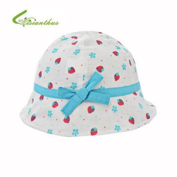 ESB1ON Kids Summer Hat Outdoor Bucket Style Strawberry Printing Bowknot Beach Princess Sun Hat Accessories Girls Children Panama Cap