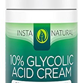 InstaNatural Glycolic Acid Cream - With 10% Glycolic Acid, 20% Vitamin C, 10% Hyaluronic Acid, Niacinamide & CoQ10 - Exfoliating Moisturizer Lotion for Face - Breakout Cleanser for Dry Skin - 1.7 OZ