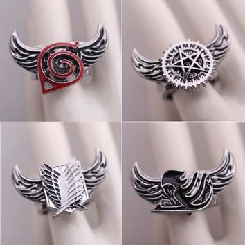 Cool Attack on Titan 10 Style Anime Ring Naruto  One piece Fairy tail Final Fantasy Black Butler Series Rotatable Alloy Charms Rings AT_90_11