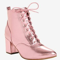 Pink Metallic Pointed Toe Booties