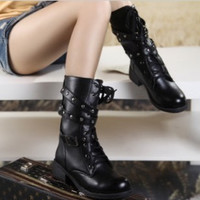 Fashionable woman students boots