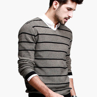 Gray Stripe Sweater