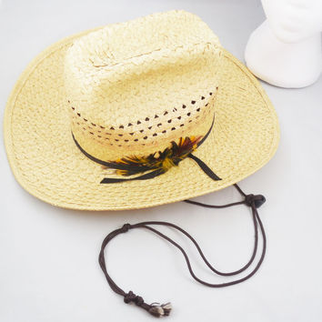 Western Straw Cowboy Hat Size 6 7/8, Summer Straw Hat with Feather on Band, Cowboy Style Straw Hat