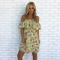 Color Me Yellow Floral Off Shoulder Dress