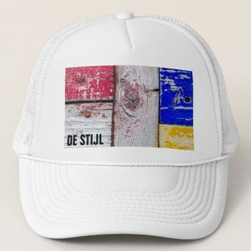 Neoplasticism style wooden art funny unique trucker hat