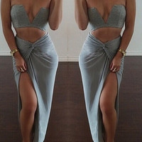 Grey Cut-Out Cropped Top and Knot Maxi Skirt Set