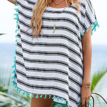 Stripe Tassel Detail Cover-up