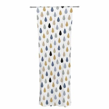 "Daisy Beatrice ""RAINDROPS MINI - SLATE-GOLD"" Brown Tan Pattern Geometric Vector Illustration Decorative Sheer Curtain"