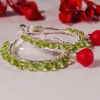 Peridot hoop earrings with red coral dangles August birthstone jewelry Green Red earrings Summer boho earrings Red coral jewelry Artisan