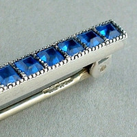 Antique STERLING Silver Art Deco Brooch CRYSTAL Paste COBALT Blue Bar Pin Hallmarked c.1920's