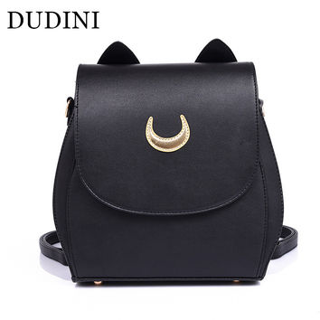 DUDINI New Sailor Moon Black PU Leather Backpacks School Bags For Teenagers Women Shoulders Rucksack Fashion Casual Travel Bags