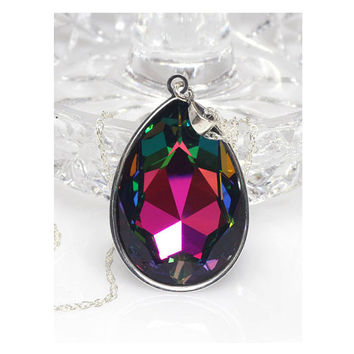 Swarovski Crystal Pendant, Pear Shaped Pendant, Multi Coloured, Gift For Her, Sterling Silver Pendant