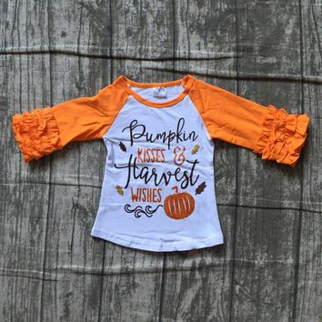 Fall/winter baby girls orange children clothes cotton pumpkin kisses hawest wishes leaves raglans top t-shirts icing sleeve new