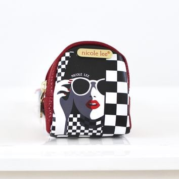 Checker Print Backpack Key Chain