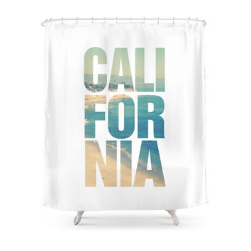 Society6 California Vintage Beach Summer Typography Shower Curtains