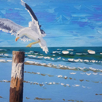 Original Palette Knife Oil Painting by Ryan Kimba, Beach Art on Canvas, Textured Painting, Seascape Impressionism, Seagull Flying