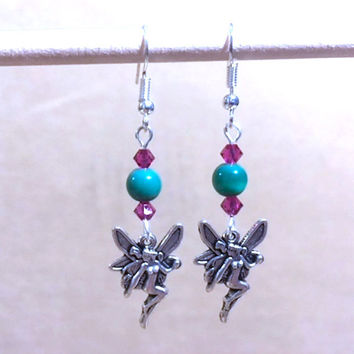Fairy Charm Earrings, Teal Cat's Eye & Magenta Crystal Silver Naked Fairy Charm Earrings, Charm Earrings, Handmade Beaded Earrings Gift Idea