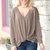 Knot Your Basic Long Sleeve {Mocha/Taupe}