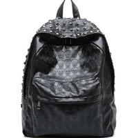 Black Studded Backpack with Embossed Skull Print