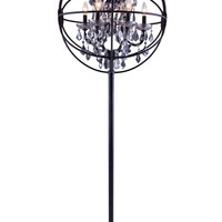 "Geneva Floor Lamp D:24"" H:71.5"" Lt:6 Dark Bronze Finish (Royal Cut Silver Shade Crystals)"