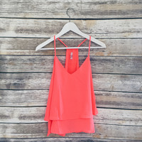 Sidney V Neck Thin Strap Tank (Neon Orange)