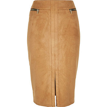 Tan double zip pencil skirt