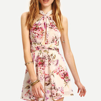 Summer Floral Playsuit Boho Chic Crisscross Flower Print Romper