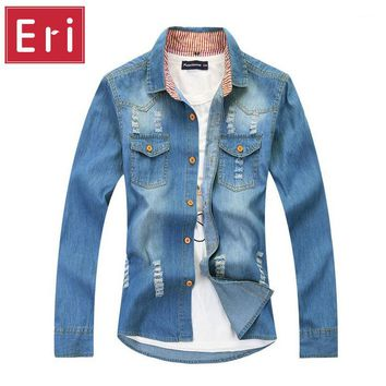 New Brand Jeans Shirt Long Sleeve Solid Casual Slim Fit Washed Denim Man Shirts Social Cotton Cowboy Clothes with Holes 3XL X115