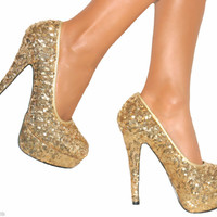 LADIES GOLD SEQUIN STILETTO HEELS PLATFORM COURT SHOE WEDDING PARTY size 3-8