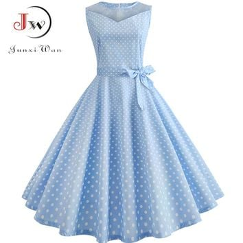 Lace Patchwork Summer Dress Women Casual Elegant Sleeveless Polka Dot Party Dresses Retro Swing Vintage Sundress Plus Size