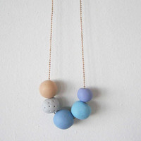 "Soft colors beads necklace - round beads polymer clay- pastel color "" Round and round"""
