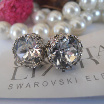 Bridal Earrings, Clear Swarovski Studs, Crystal, Chatons, Rhodium Filigree, Stud Earrings, Post Earrings, Art Deco Earrings, Surgical Steel