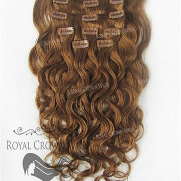 Brazilian 9 Piece Body Wave Human Hair Weft Clip-In Extensions in #30