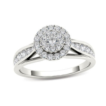 5/8 CT. T.W. Composite Diamond Frame Engagement Ring in 14K White Gold