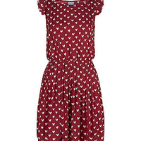 Petite Dark Red Heart Print Frill Sleeve Skater Dress