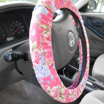 Pink Floral Steering Wheel Cover, Car Decor,  Womens Rose Fabric Cover, Car Accessories