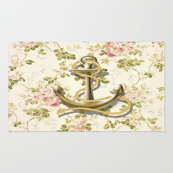 romantic vintage anchor shabby chic floral Rug by Chicelegantboutique