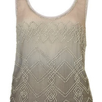 Ombre Embellished Vest - Tops  - Apparel