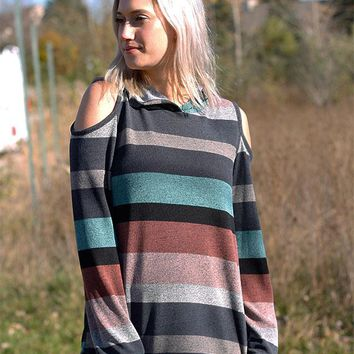 Striped Cold Shoulder Hoody