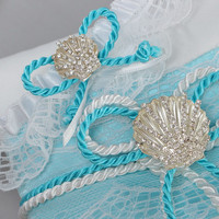 Set of handmade white and blue wedding accessories bridal garter and ring pillow