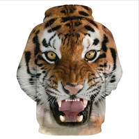 Tiger 3D Digital Hooded Sweater