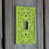 Lime Green Decorative Light Switch Plate/ Single Switch Cover/ Fleur de lis/ Bright Cast Iron/ Painted Metal/ Shabby Chic